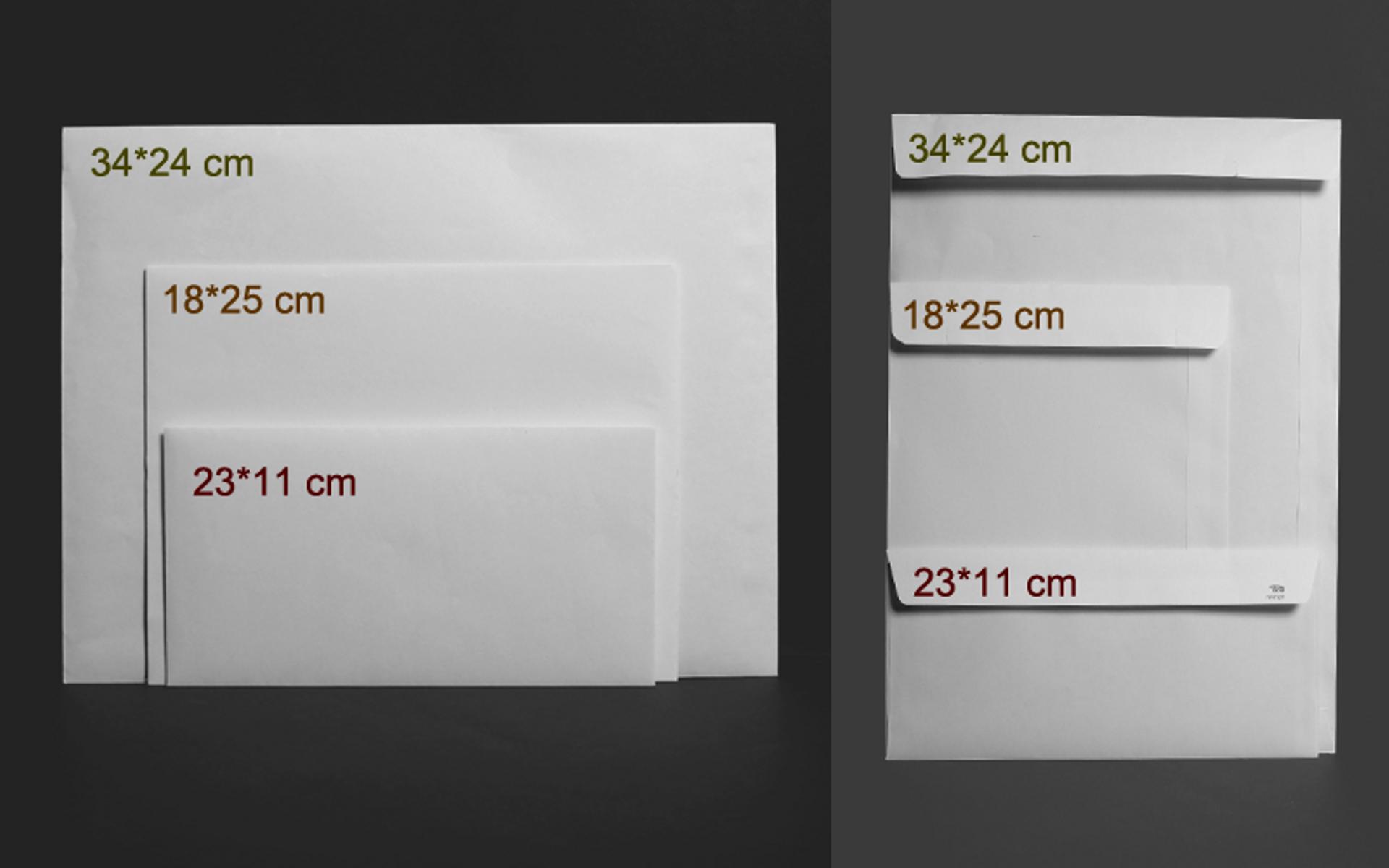 """=מעטפות גודל 11*23 ס""""מ הדפסה אופסט בצבע אחד."""