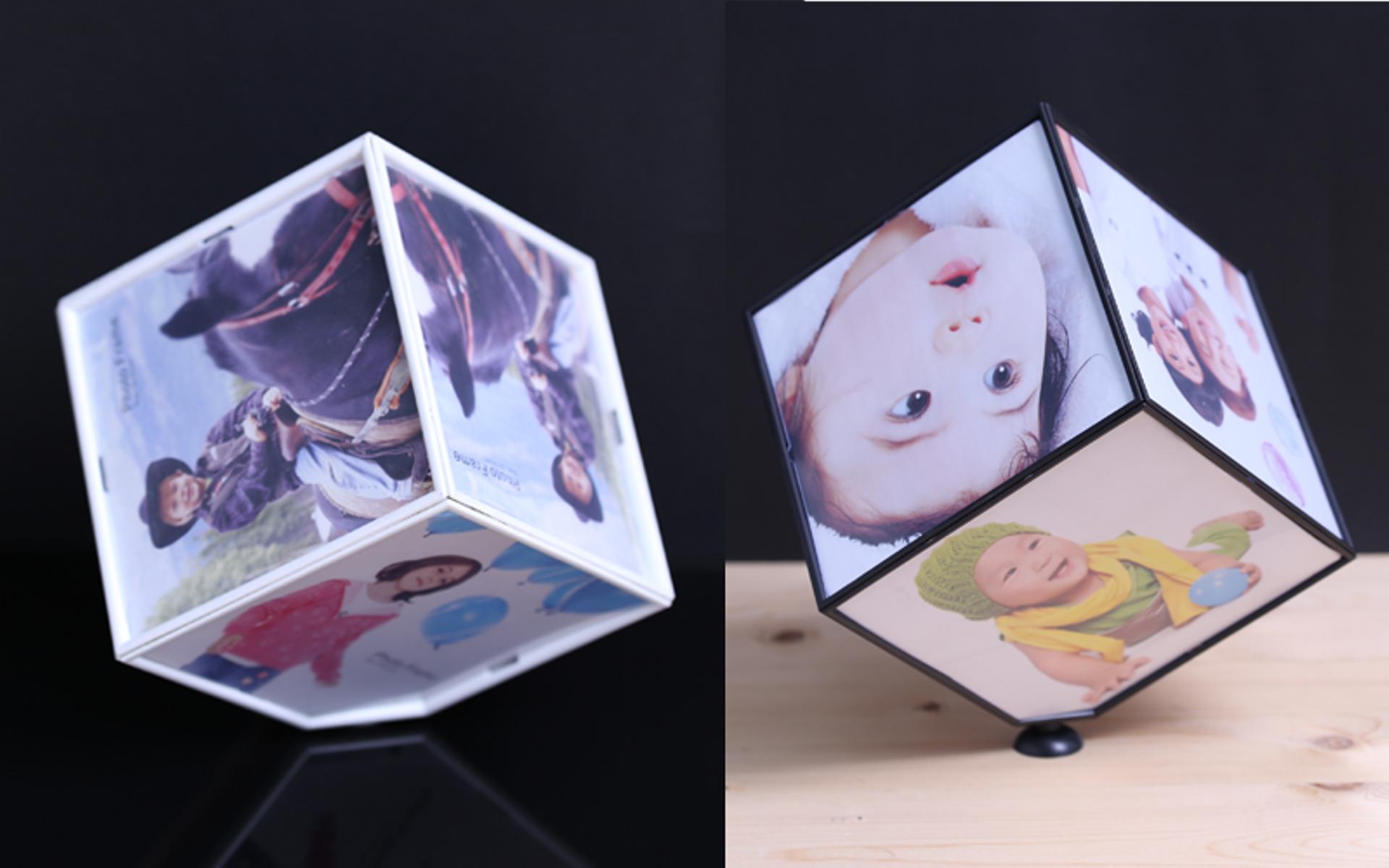 """מעמד קובייה מסתובב ל 6 תמונות בגודל 10*10 ס""""מ לתמונה."""