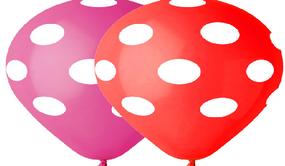 بالون طباعه نقاط احمر وزهري 100 قطعة