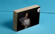 """בלוק עץ טבעי עובי 3 ס""""מ. איכותי עם הדפסת תמונה."""