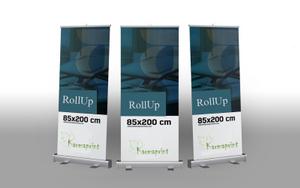 """שלט רולאפ ROLLUP גודל 85*200 ס""""מ איכותי! מחיר כולל מע""""מ!"""