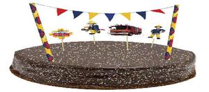 طقم لتزيين الكيك اعلام وشخصيات  سام رجل الإطفاء