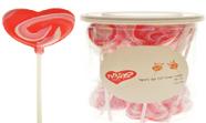 מארז סוכריות על מקל 12 גרם בצנצנת - לב אדום ורוד לבן (24x24)