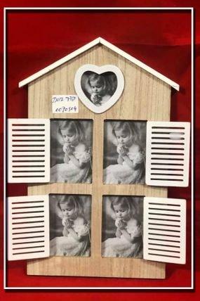 מסגרת לתמונות מעץ מעוצבת בצורת בית ל 4 תמונות