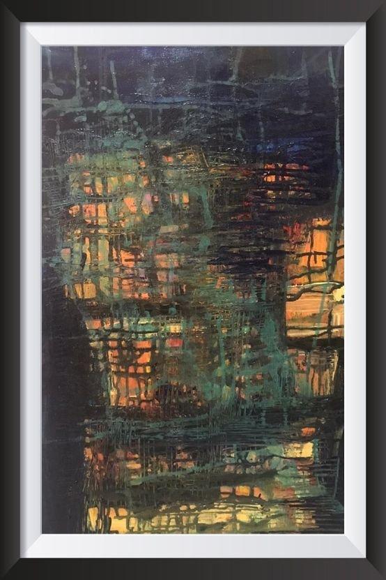 لوحة مرسومة على خشب قياس  50/70 بألوان اكرلاك