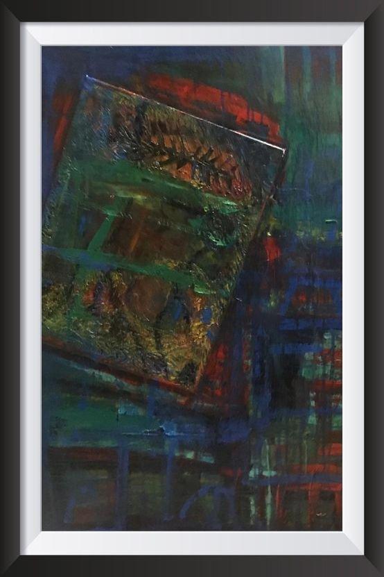 لوحة مرسومة على خشب قياس 90/100 بألوان اكرلاك