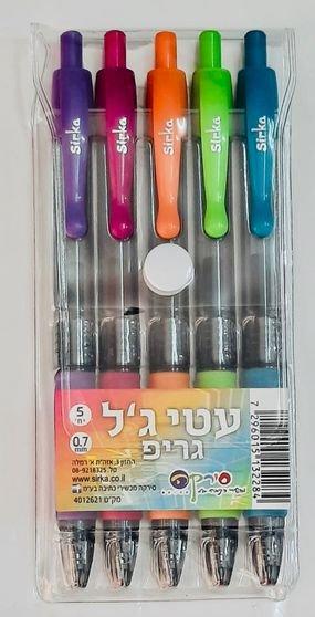 5 עטי לחצן צבעוניים - ג'ל