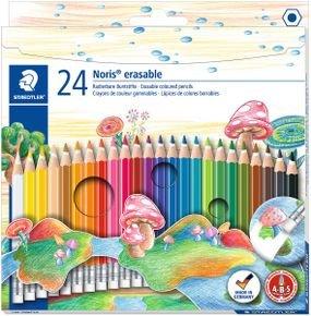 24 עפרונות צבעוניים מחיקים