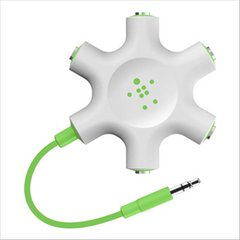 Belkin Multi Headphone Audio Jack Splitter - White/Green- F8Z274BTGRN