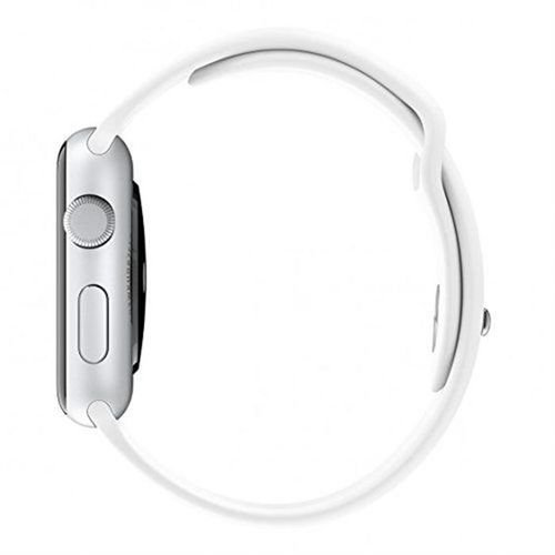 Apple Sport Watch side 38mm Silver Aluminum Case White Sport Band