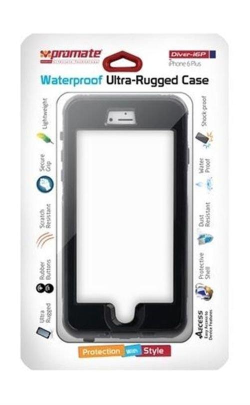 غطاء ضد الماء لأيفون 6 بلس برومايت لون أسود DIVER-I6P