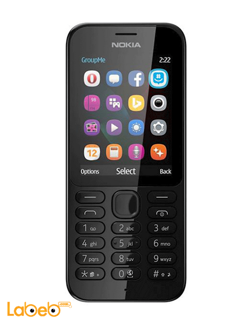 موبايل مايكروسوفت نوكيا 222 كاميرا 2ميجابكسل أسود Nokia 222