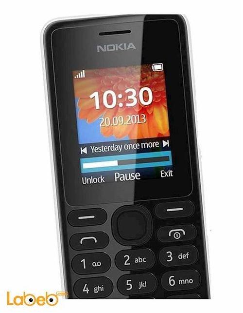 White Nokia 108 mobile screen