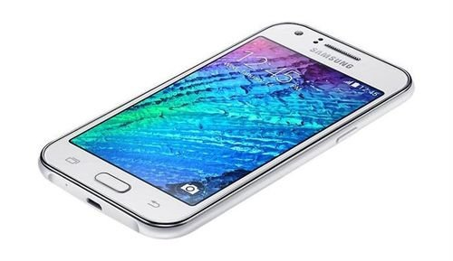 White Samsung Galaxy J1 smartphone screen