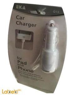 EKA car charger - for pad & phone - 1000mAh - White - Q13 model