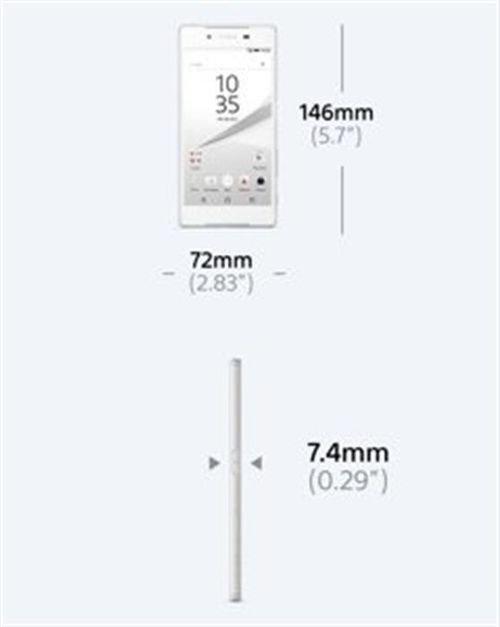 Sony Xperia Z5 smartphone deminision 32GB white 5.2inch E6603