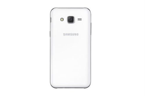 White Samsung Galaxy J5 smartphone back