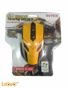 Intex wired computer mouse optical - black & yellow - IT OP108