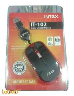Intex wired mouse optical - 2400dpi - black & green - IT-102