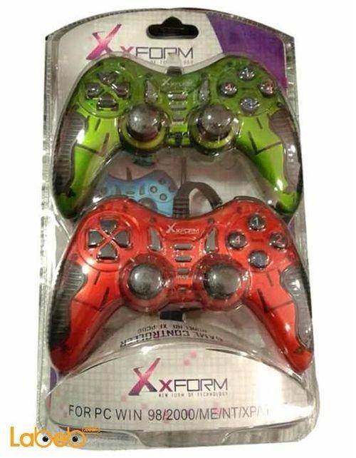يد تحكم مزدوجة رجاجة للالعاب Xform اخضر واحمر رقم الموديل XF-PC06
