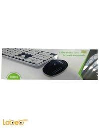 لوحة مفاتيح وماوس بلو فنجر لاسلكيات - لون ابيض واسود - Hk3960