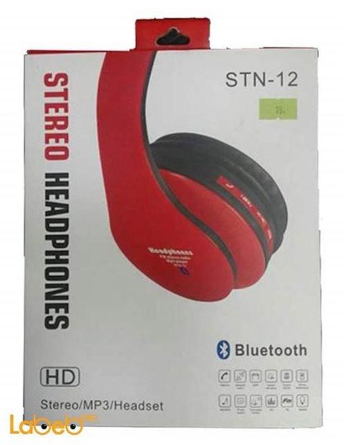 سماعات بلوتوث ستيريو لاسلكية لون احمر راديو كرت ذاكرة STN - 12
