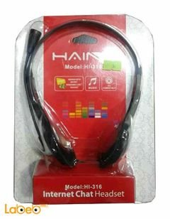Haing intrernet chat headset - black color - microphone - HI-316
