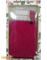 غطاء موبايل لايفون 6 مصمم مع فرو وردي وخرز فضي