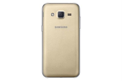 Gold Samsung galaxy J2 smartphone back
