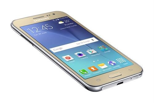 Gold Samsung galaxy J2 smartphone screen