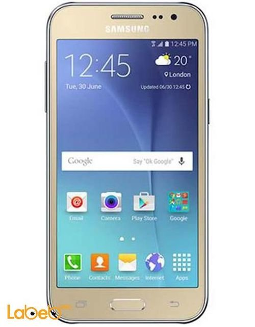 Gold Samsung galaxy J2 smartphone
