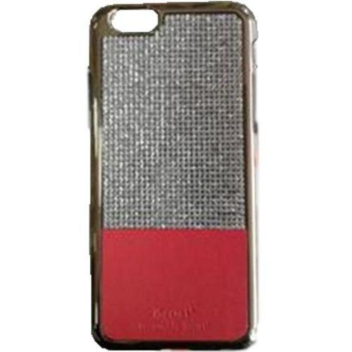 غطاء حامي لموبايل ايفون 6S - لون احمر مرصع باحجار براقة بلون فضي