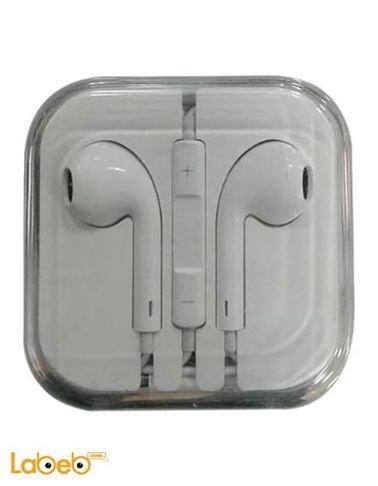 سماعة ايفون اصلية - تشمل مايكروفون وتحكم بالصوت - ابيض - MD827