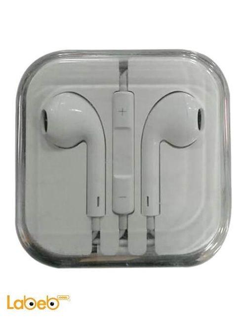 سماعة ايفون اصلية تشمل مايكروفون وتحكم بالصوت لون ابيض موديل MD827