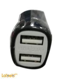 عظمة شاحن للسيارة منفذين USB يناسب جميع الأجهزة لون اسود