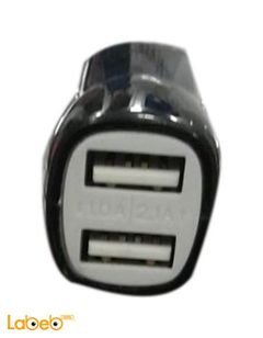 USB car adapter - 2 USB ports - Black color - Universal