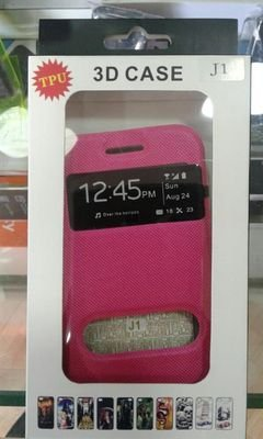 Samsung galaxy J1 Screen and back case - screen viewed - Pink