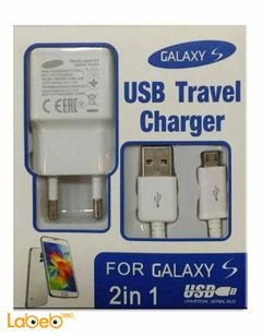 Samsung galaxy S charger - cable and port - 1 USB port - white