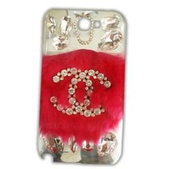 Mobile back cover - for galaxy note 2 - Pink & Silver Stones