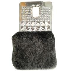 mobile back cover - for galaxy note 3 - grey & Silver Stones