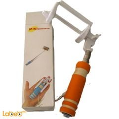 Mini monopod selfie stick - 48cm - Orange color
