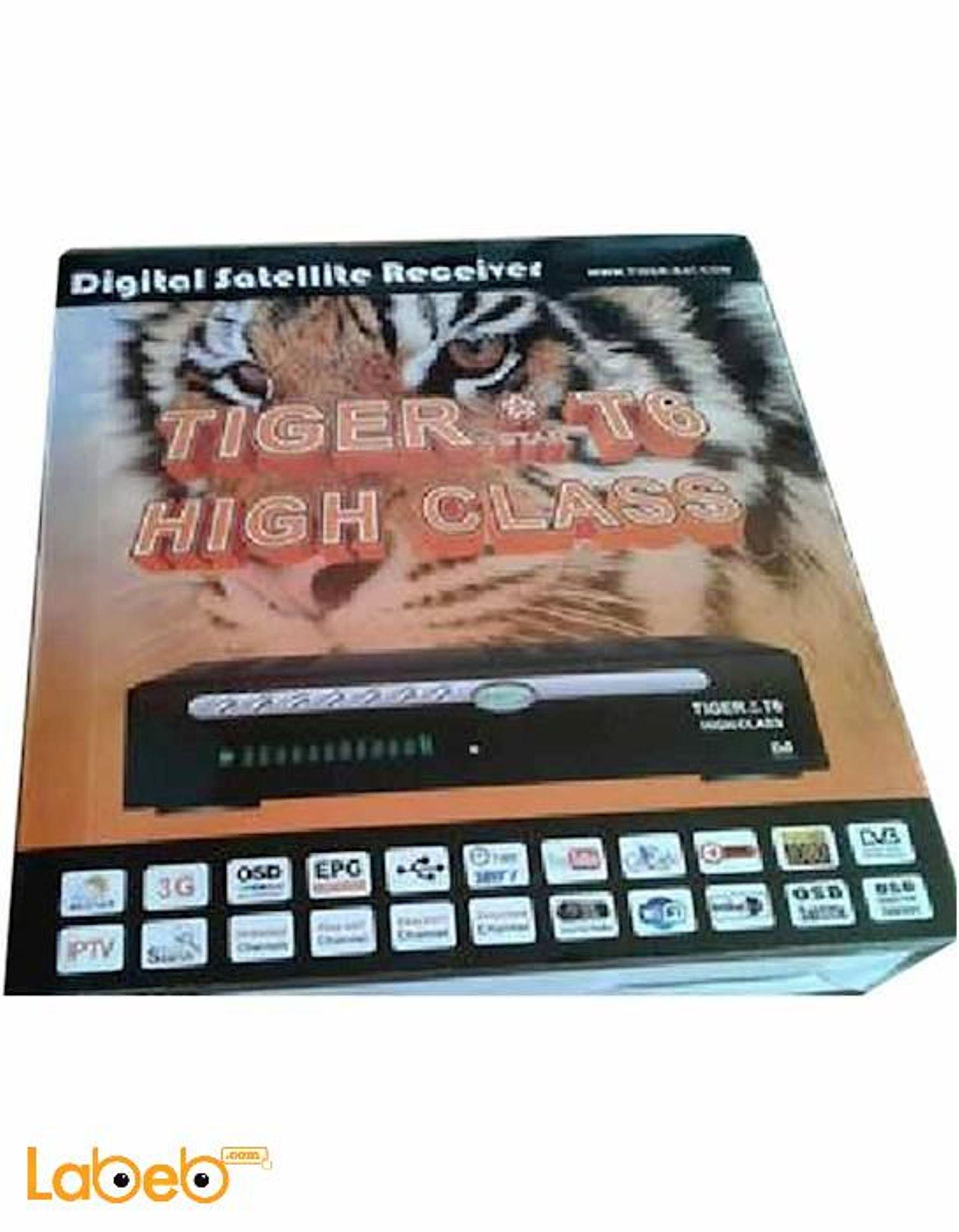 رسيفر تايجر T6 high class، كامل الوضوح، 1080P، واي فاي، USB