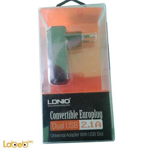 عظمة شاحن ldnio لكل انواع الهواتف 2.1A مخرجين usb اسود