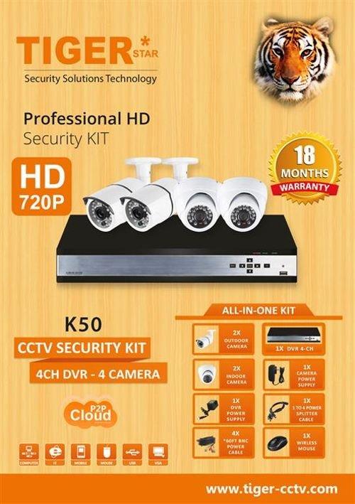 مواصفات نظام كاميرات حماية CCTV تايجر 4 كاميرات K50