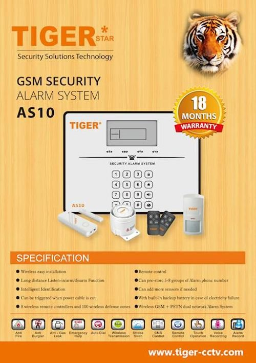 Tiger Alarm System and CCTV Specifications AS10