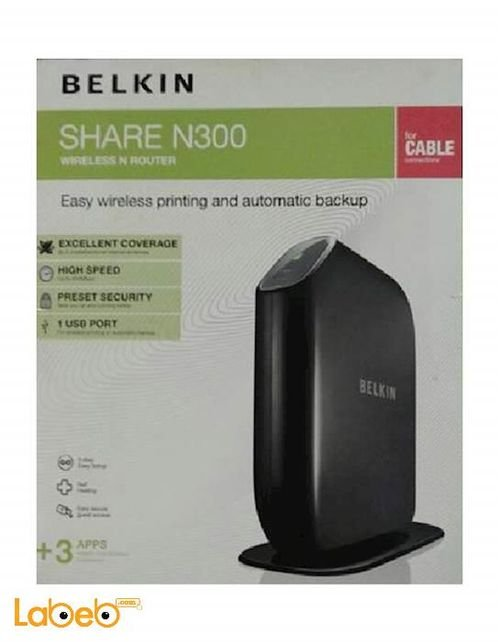 راوتر بيلكين share N300 يشمل 4 مخارج لان USB اسود