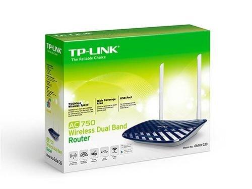 علبة راوتر TP Link ثنائي موجات لاسلكية USB 2.0 موديل Archer C20