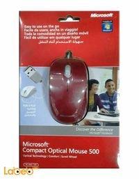 ماوس ميكروسوفت أوبتكل سلكي 500 احمر U81 00061
