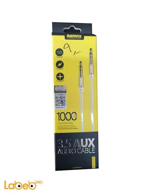 REMAX 3.5mm Jack Stereo AUX Cable RL-L100 able - 1m - Gold - RL-L100