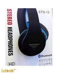 سماعات رأس بلوتوث ستيريو لاسلكية - كرت ذاكرة - ازرق - STN-12
